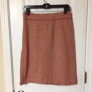 Kenneth Cole Red Herringbone Wool A-Line Skirt